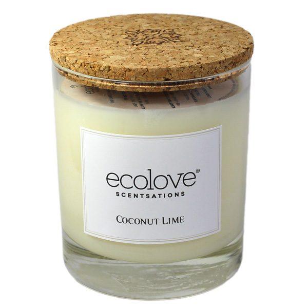 Ecolove Bougie Aromatique Noix de Coco Citron Vert - Petite Plante